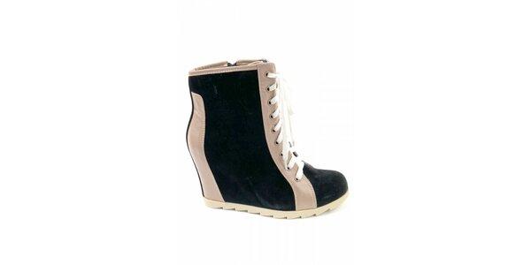 Dámske čierne kotníčkové topánky Ellemoda s béžovými detailami