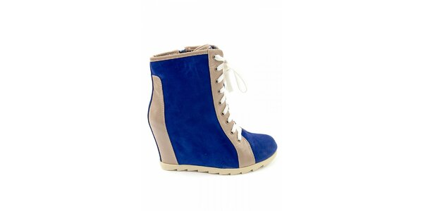 Dámske modré kotníčkové topánky Ellemoda s béžovými detailami