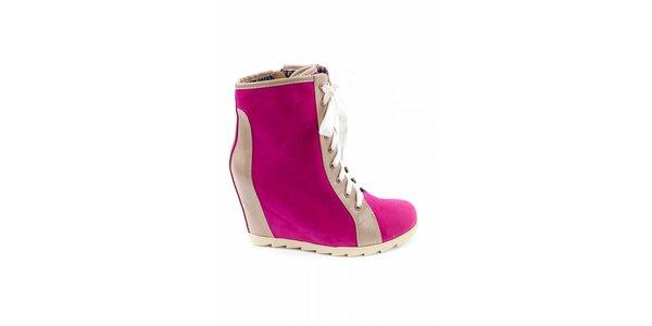 Dámske fuchsiové kotníčkové topánky Ellemoda s béžovými detailami