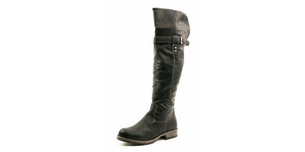 Dámske čierne vysoké čižmy Ellemoda