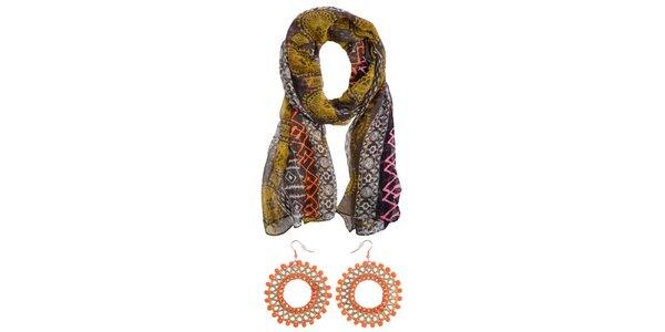Dámska farebná šatka a oranžové náušnice Invuu London