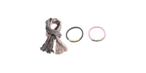 Dámsky set - krémovo-šedá šatka a dva náramky - šedý a ružový Invuu London