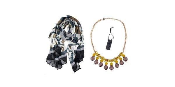 Dámsky set - farebná šatka a náhrdelník Invuu London