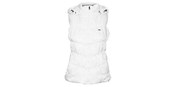 Dámska biela prešívaná vesta Timeout s kapucou