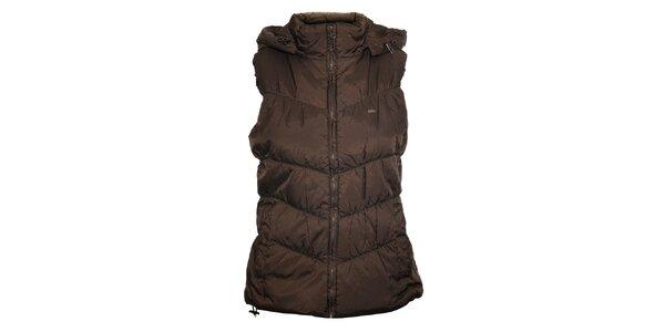 Dámska tmavo hnedá prešívaná vesta Timeout s kapucou