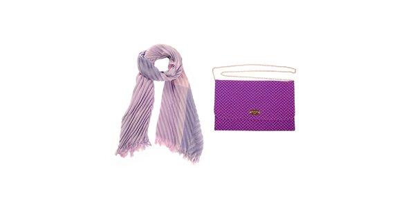 Dámska fialová šatka a listová kabelka Invuu London