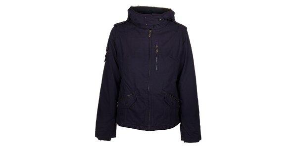 Dámska tmavo fialová bunda Timeout s kožúškom a kapucou