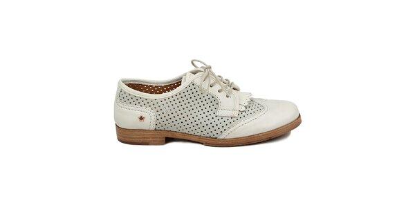 Dámske šedobiele perforované poltopánky Cubanas Shoes