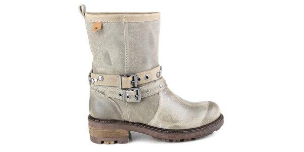 Dámske šedé kožené členkové topánky s prackami Cubanas Shoes