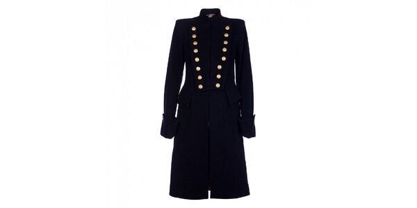 Dámsky dlhý čierny kabát Pietro Filipi so zlatými gombíkmi