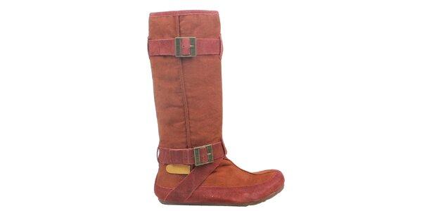 Dámske tehlovo červené čižmy Cubanas Shoes