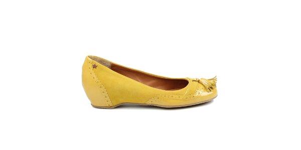 Dámske žlté lesklé baleríny Cubanas Shoes