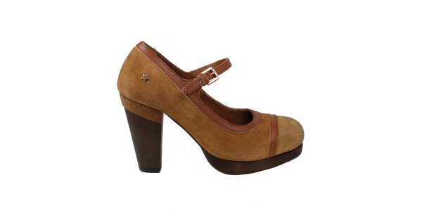 Dámske hnedé kožené topánky na opätku Cubanas Shoes