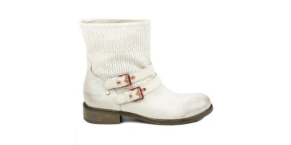 Dámske biele členkové perforované topánky Cubanas Shoes