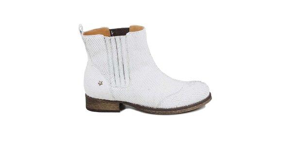 Dámske biele kožené chelsea topánky Cubanas Shoes