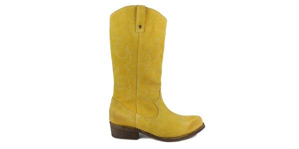 Dámske žlté semišové topánky Cubanas Shoes