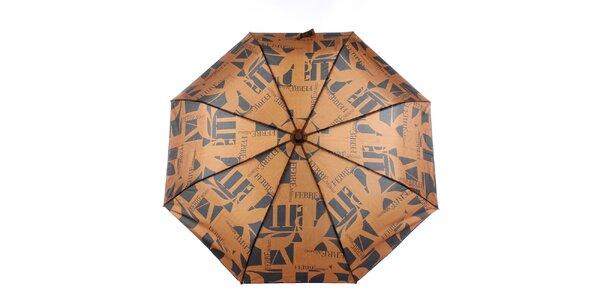 Dámsky karamelovo-čierny vystreľovací dáždnik s logom Ferré Milano