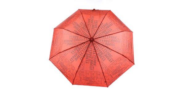 Dámsky červeno-čierny vystreľovací dáždnik s logom Ferré Milano