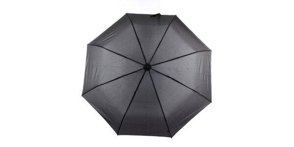 Pánsky čierny vystreľovací dáždnik s prúžkom Ferré Milano