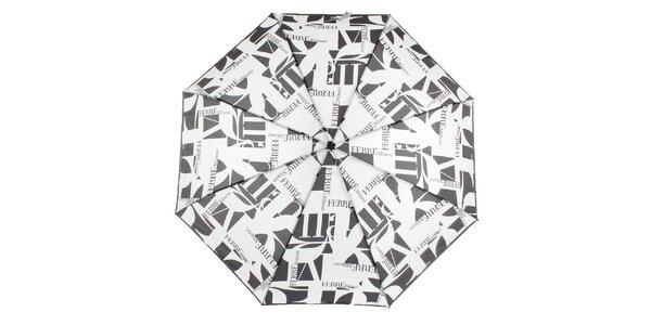 Dámsky čierno-biely vystreľovací dáždnik s logom Ferré Milano