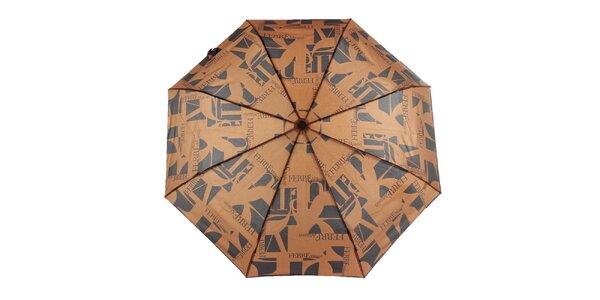 Dámsky čierno-hnedý vystreľovací dáždnik s logom Ferré Milano