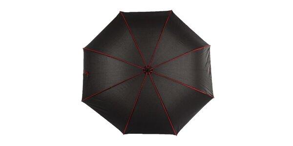 Dámsky čierny dáždnik s červenými lemami Ferré Milano