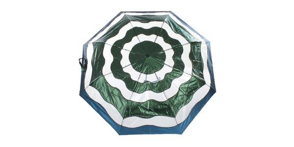 Dámsky zeleno-modrý vystreľovací dáždnik Ferré Milano