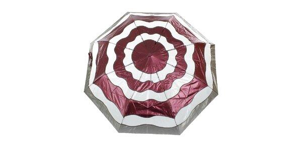 Dámsky vínovo-strieborný vystreľovací dáždnik Ferré Milano