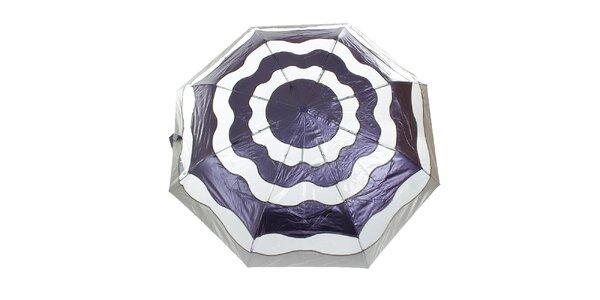 Dámsky fialovo-strieborný vystreľovací dáždnik Ferré Milano