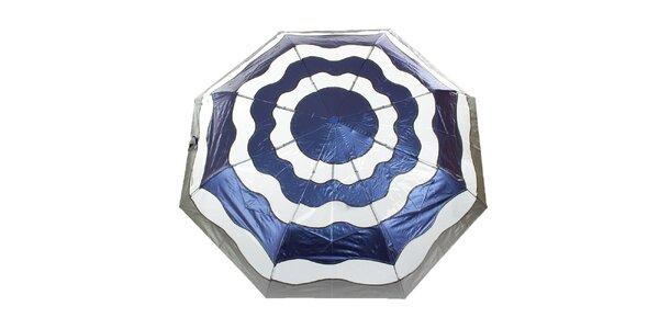 Dámsky modro-strieborný vystreľovací dáždnik Ferré Milano