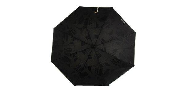 Dámsky čierny dáždnik so smotanovou rukoväťou Ferré Milano