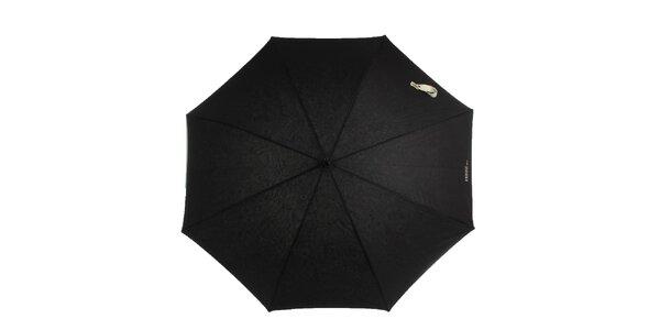 Dámsky čierny dáždnik s bielou rukoväťou Ferré Milano