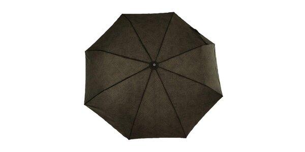 Pánsky šedohnedý vystreľovací dáždnik s čiernym logom Ferré Milano