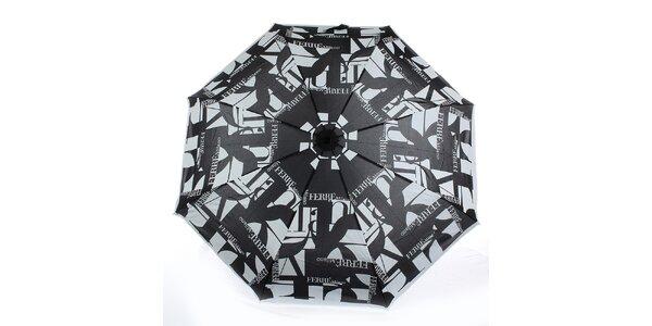 Dámsky šedo-čierny vystreľovací dáždnik s logom Ferré Milano