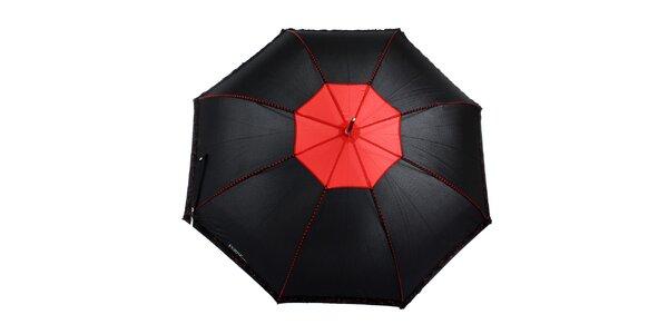 Dámsky čierny romantický vystreľovací dáždnik s červenými detailmi Ferré Milano