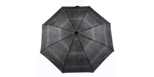 Dámsky šedo-čierny vystreľovací dáždnik Ferré Milano