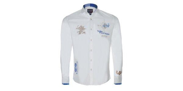 Pánska biela športová košeľa s radou výšiviek Giorgio di Mare