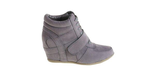 Dámske tmavo šedé kotníčkové topánky Maria Barcelo na vysokom podpätku