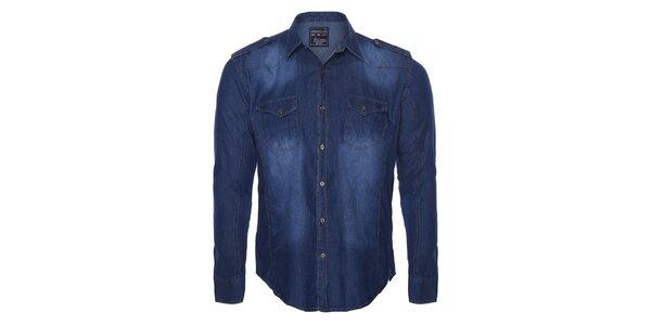 Pánska modrá džínsová košeľa s šisovaním Giorgio di Mare