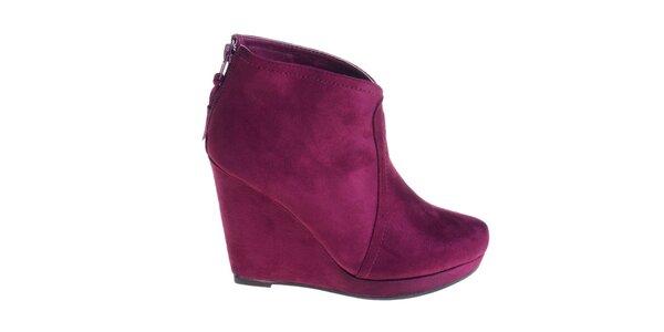 Dámske slivkovo fialové topánky Maria Barcelo na vysokom podpätku
