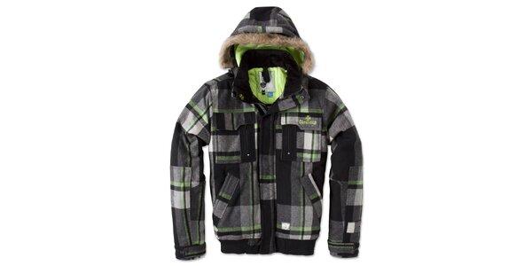 Pánska čierno-šedá bunda so zelenými prvkami Brunotti