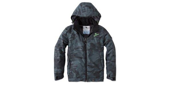Pánska tmavá zimná bunda s potlačou a kapucňou Brunotti