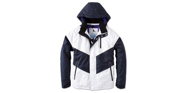 Pánska zimná bielo-modrá bunda s kapucňou Brunotti