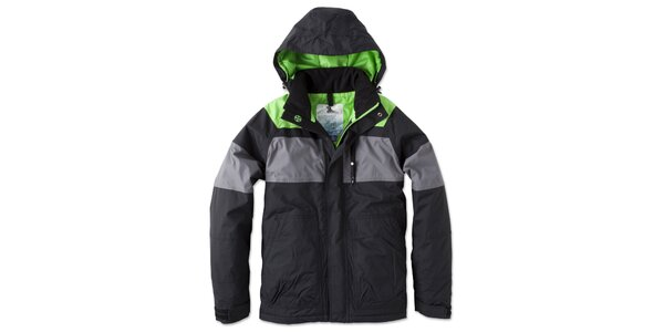 Pánska čierno-šedo-zelená bunda s kapucňou Brunotti