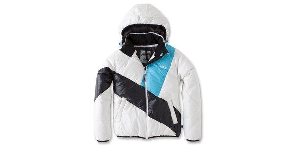 Dámska bielo-čierna bunda s tyrkysovým pruhom Brunotti