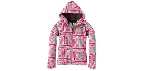 Dámska softshellová ružovo kockovaná zimná bunda Brunotti