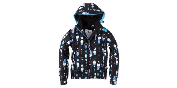Dámska čierna zimná bunda s farebnou potlačou Brunotti