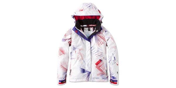 Dámska biela zimná bunda s farebnou potlačou Brunotti
