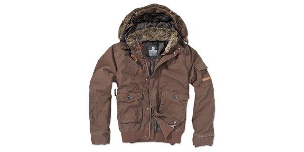 Pánska hnedá bunda s kapucňou Brunotti