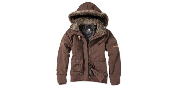 Dámska hnedá bunda s kapucňou Brunotti
